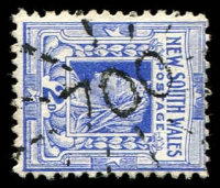 Lot 1080:700: rays on 2d blue. [Rated SS]  Allocated to Reedy Flat-PO 1/8/1873; renamed Batlow PO 16/1/1889.