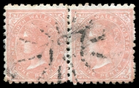 Lot 6140:727: rays (3R12) on 1d orange DLR pair. [Rated 4R - the first offered by us.]  Allocated to Carlisle Gully-PO 15/5/1874; closed 31/12/1887.
