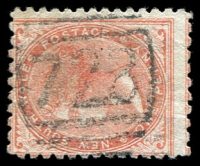 Lot 1082:728: BN on 1d orange DLR. [Rated 4R - the first offered by us.]  Allocated to Dungaree-PO 1/6/1874; replaced by Lue PO 6/10/1891.