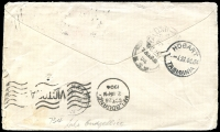 Lot 1085 [2 of 2]:734: BN on 2d blue pair tied by framed 'LAKE CUDGELLICO/OC23/1904/N.S.W' (A2-) on Tatt's cover (spike holes).  Allocated to Lake Cudgellico-PO 1/9/1874; renamed Cargelligo PO 15/8/1915.