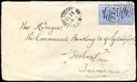 Lot 1085 [1 of 2]:734: BN on 2d blue pair tied by framed 'LAKE CUDGELLICO/OC23/1904/N.S.W' (A2-) on Tatt's cover (spike holes).  Allocated to Lake Cudgellico-PO 1/9/1874; renamed Cargelligo PO 15/8/1915.