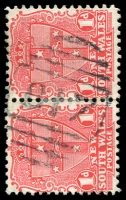 Lot 1093:817: '817' BN on 1d Arms pair. [Rated 3R]  Allocated to Huskisson-PO 22/3/1886.