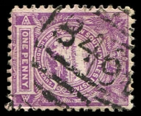 Lot 1096:846: BN on 1d Centennial, partly o/struck with a 2nd cancel. [Rated 4R - the first offered by us.]  Allocated to Wherrol Flat-PO 1/10/1876; closed 31/12/1976.