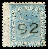 Lot 998:92: rays (2R21) on 2d blue DLR. [Rated 3R]  Allocated to Richmond River-PO 1/1/1849; renamed Casino PO c.1853.