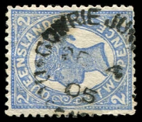 Lot 1915:Gowrie Junction: - unframed 'GOWRIE JUN[CTION]/DE4/05/QUEENS[LAND]' on 2d 4-Corners.  PO 24/4/1876; renamed Gowrie PO 24/8/1961.