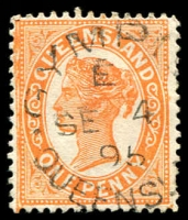Lot 1921:Gympie: - unframed 'GYMPIE/E/SE4/95/QUEENSL[AND]' (Type 4aii) on 1d orange Void-Oval. [Rated 2R]  Renamed from Gympie Creek PO 9/7/1868.