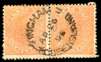 Lot 1938:Ingham: - unframed 'INGHAM/AP26/95/QUEENSLAND' (Type 3b) on 1d orange Lined-Oval pair (re-inforced). [Rated 3R]  Renamed from Lower Herbert PO 19/1/1882.