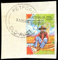Lot 1993:Petford: - 'PETFORD/31OC80/QLD-AUST' on 22c Folklore. [Rated 3R]  RO c.-/9/1903; PO 1/7/1924; closed 30/6/1983.