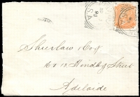 Lot 2101:Cockburn: - 2 strikes of 26mm squared-circle 'COCKBURN/1/AP7/99/S_A' on 2d orange DLR on Shierlaw cover front.  PO c.1887; closed 29/1/1988.