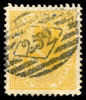 Lot 2086:252: used as emergency canceller, on WA 2d yellow Swan. [Rated R - quite unusual cancelling a Western Australian stamp.]  Allocated to Adelaide-PO 10/4/1837.
