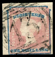 Lot 2408:13: BN on 1/- red & blue Registered.  Allocated to Apsley-Renamed from Lake Wallace PO 1/1/1854; LPO 2/5/1994.