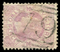 Lot 2443:79: 2nd Type (no sidebars) on 2d mauve. [Rated R]  Allocated to Streatham-Renamed from Fiery Creek PO 1/1/1854; LPO 1/3/1994.