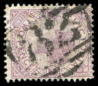 Lot 2446:82: '82' 4th Type (large thick figures) on 2d violet. [Rated 2R - but was rated 4R]  Allocated to Wangaratta-Renamed from Ovens PO 1/1/1854.