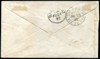 Lot 3324 [1 of 2]:T.P.O. 3: WWW #30A 23mm framed 'UP TRAIN/M.G.3/AU23/82/VICTORIA' backstamp on small cover franked with 2d sepia, cancelled with blue 2nd duplex 'ECHUCA/AU23/82/VICTORIA - 40' (A2), hinge remains on reverse.