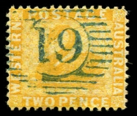 Lot 3354:19: in blue on 1890 2d yellow.  Allocated to Dardanup-PO 22/10/1867.