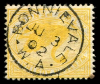 Lot 3364:Bonnievale: - framed 'BONNIEVALE/JU3/02/W.A' on 2d yellow Swan.  PO 23/12/1897; RO 17/2/1912; closed 13/11/1914.