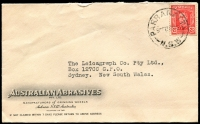 Lot 778:Australian Abrasives Pty Ltd cover for Manufacturers of Grinding Wheels, Auburn, N.S.W. franked with 2½d red KGVI, 25 Feb 1942 Parramatta cds.