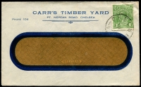 Lot 784:Carr's Timber Yard, Chelsea window-faced cover, franked with 1d green KGV, cancelled with 'CHELSEA/3AU??/VIC