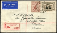 Lot 862 [1 of 2]:1932 Whitemark - Launceston AAMC #268 registered cover franked with large 6d Kookaburra & 6d dull brown Air Mail opt 'OS' (Cat. $250, couple of toned perfs) tied by 'WHITEMARK/7JE32/TAS.' (A2 - better backstamp) with 'REGISTERED BRANCH/10JE32/LAUNCESTON' (A1- backstamp), red 'WHITE MARK' registration label, Air Mail label attached.
