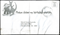 Lot 890:AFPO 38mm 'A.F.P.O. 5/5AUG2006/AUSTRALIA' on stampless World Vision Australia long cover with logo, tape repaired.