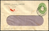 Lot 644:1928-37 1d Green KGV Oval BW #ES64 window faced envelope with small logo (swimmer) for Jantzen (Australia) Ltd, Sydney, cancelled with 'LIDCOMBE/26SE35/N.S.W.' (B2) cds, toning.