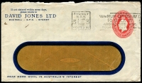 Lot 647:1930-37 2d Red KGV Oval BW #ES72 Die 1 window-faced envelope for David Jones Ltd, Sydney - Wear more wool in Australia's Interest, cancelled with 5 Jul 1932 Sydney 'Posted in Country Box' slogan cancel, few small tone spots, roughly opened.
