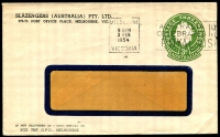 Lot 652:1953-57 3d Green QEII Large Die BW #ES91 on window-faced envelope, for Slazengers (Australia) Pty Ltd, Melbourne, cancelled with 3 Feb 1954 Melbourne slogan cancel.