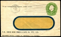 Lot 653:1953-57 3d Green QEII Large Die BW #ES91 on window-faced envelope, for TN Chuck Wire Fence & Gate Co Pty Ltd, Brunswick, Vic, cancelled with 15 Sep 1955 Brunswick machine cancel, damaged flap.