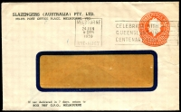 Lot 656:1956-57 3½d Orange QEII Large Die BW #ES93 on window-faced envelope for Slazengers (Australia) Pty Ltd, Melbourne, 24 Jun 1959 Melbourne slogan cancel.