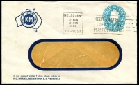 Lot 660:1960 5d Light Blue QEII Small Die BW #ES98 on window-faced envelope for K-M Steel Products Pty Ltd, Richmond with blue logo, cancelled with 2 Feb 1963 Melbourne slogan cancel.