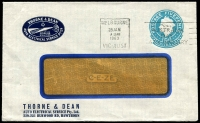 Lot 664:1960 5d Light Blue QEII Small Die BW #ES98 on window-faced envelope with small logo for Thorne & Dean, Auto Electrical Service Pty Ltd, Hawthorn, cancelled with 28 Jan 1963 Melbourne slogan cancel.