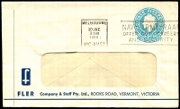 Lot 666:1960 5d Light Blue QEII Small Die BW #ES98 on window-faced envelope with small logo for Fler Company & Staff Pty Ltd, Vermont, Victoria, cancelled with 20 Jne 1962 Melbourne slogan cancel.