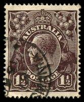 Lot 512:1½d Black-Brown Die I - BW #84(1)f [1L20] White flaws between right of kangaroo's head and A and left of large 1 in left value tablet, Cat $40.