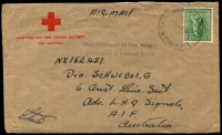 Lot 1336:Baulkham Hills Military Hospital: - 'BAULKHAM HILLS MIL HOSP/11JY45/N.S.W-AUST' on 4d Koala on Australian Red Cross Society cover to soldier (based in Australia), 'Department of the Army/Concession Postal Rate' violet handstamp, roughly opened at back.  PO 1/11/1943; closed 2/1/1946.