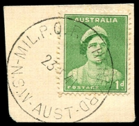 Lot 1429:Rutherford Mil. P.O.: - 'MIL.P.O. RUTHERFORD/23??41/N.S.W-AUST' on 1d green QE.  PO 6/10/1939; closed 2/10/1945.