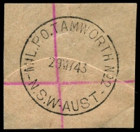 Lot 1448:Tamworth Mil. P.O. No. 2: - 30mm 'MIL.P.O.TAMWORTH.NO.2/29MY43/N.S.W-AUST' on registered piece.  PO 29/8/1940; closed 14/7/1945.
