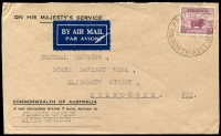 Lot 1488:Alice Springs Military P.O.: - 'MIL.P.O.ALICE SPRINGS/10-A9DE41/NORTH-AUST' on 5d Merino (few toned perfs) on OHMS Finance Office, Alice Springs cover, Air Mail label attached, to Melbourne.  PO 5/3/1941; closed 15/1/1946.
