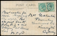Lot 56 [2 of 2]:Australia - New South Wales: multi-coloured PPC 'Belmore Falls', franked with ½d green pair, 'TORONTO/DE23/1907
