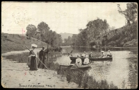 Lot 58 [1 of 2]:Australia - New South Wales: black & white real photo PPC 'Beautiful Nepean, No. 6', Sydney Post Card Co, franked with 1d Arms, poor Marulan framed cds c.1905, scene of people on rowing boats on river, worn edges, toning on reverse.