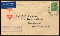Lot 1576:Camp Cable Mil. P.O.: - 'MIL P.O. CAMP CABLE/-2JA46/QLD-AUST' on 4d Koala, on ACF cover by air to Randwick, NSW with boxed 'DEPARTMENT OF THE ARMY/Concession Postal Rate' (A1) in purple.  PO 1/2/1945; closed 11/1/1946.