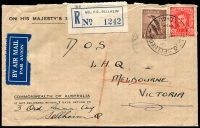 Lot 1676 [1 of 2]:Sellheim Mil. P.O.: - 'M[I]L.P.O. SELLHEIM/12OC42/QLD-AUST' (arcs 1,3 - better backstamp) on 2½d red KGVI & 6d Kookaburra on OHMS cover with blue registration label and Air Mail label attached, to Melbourne with 'ARMY P.O./15OC42/0130.' backstamp. [Rated 2R]  PO 7/6/1941; closed 29/12/1944.