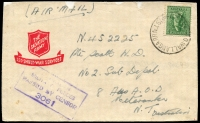 Lot 1687:Wallangarra Mil. P.O.: - 'MIL.P.O.WALLANGARRA/??????/QLD-AUST' on 4d Koala, on Salvation Army cover to Mataranka, NT, with violet boxed 'AUSTRALIAN/MILITARY FORCES/PASSED BY CENSOR/3061' (B2), front only.  PO 19/8/1943; closed 28/2/1946.