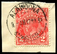 Lot 1773:Alawoona: - 'ALAWOONA/9AM17MA34/STH AUSTRALIA' on 2d red KGV.  RO 5/10/1914; PO 1/3/1915; closed 18/3/1988.