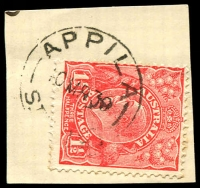Lot 1774:Appila: - 'APPILA/10MR30/STH AUST' on 1½d red KGV.  Renamed from Appila Yarrowie PO 1/7/1918; closed 15/10/1993.