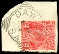 Lot 1793:Dawson: - squared-circle 'DAWSON/3FE/3?/S_A' on 2d red KGV. [Rated R]  Renamed from Coglin PO 1/4/1882; closed 14/8/1971.