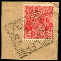 Lot 1798:Eden Valley: - squared-circle 'EDEN VALLEY/OC8/35/S.A' on 2d red KGV.  PO c.-/6/1863.