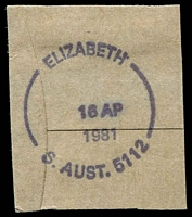 Lot 1800:Elizabeth: - unframed 'ELIZABETH/16AP/1981/S.AUST.5112' on piece. [Unrecorded by PSSA]  PO 8/5/1961.