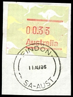 Lot 1803:Findon: - 'FINDON/11AU86/SA-AUST' (LRD) on 33c Frama. [Rated 2R]  PO 23/11/1859.