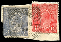 Lot 1806:Goodwood: - squared-circle 'GOODWOOD/AU15/29/S_A' on 1½d red & 3d blue KGV.  PO c.1885.