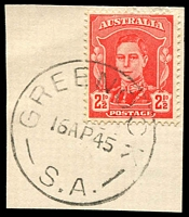 Lot 1809:Greenock: - 'GREENOCK/16AP45/S.A.' on 2½d red KGVI.  PO 1/1/1856.